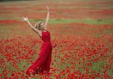 Mooie blondevrouw met rode kleding, in het midden van een papavergebied Stock Foto's