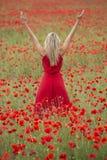 Mooie blondevrouw met rode kleding, in het midden van een papavergebied Royalty-vrije Stock Afbeelding