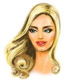 Mooie blondevrouw, op een wit Royalty-vrije Stock Afbeeldingen