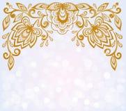 Mooie bokeh hoogtepunten als achtergrond en verfraaid gesneden bloemenpatroon Stock Foto's