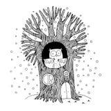 Mooie boom en familie van uilen De winter royalty-vrije illustratie