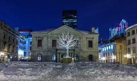 Oud Montreal bij nacht. Stock Fotografie