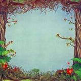 Mooie bosscène met blauwe achtergrond in centrum Royalty-vrije Stock Foto's