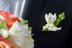 Mooie boutonniere van de bruidegom Royalty-vrije Stock Afbeelding