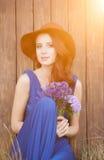Mooie bruid in blauwe kleding Royalty-vrije Stock Foto