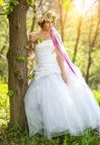 Mooie bruid, bloemtiara op haar hoofd, die zich op de boom baseren Stock Fotografie