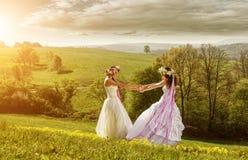 2 mooie bruid in de ochtend, de idyllische weide, vriendschapssymbool Royalty-vrije Stock Foto