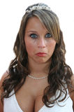 Mooie Bruid die Gezicht maakt Stock Foto's