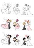 Mooie bruid en bruidegom met 3 acties Stock Afbeeldingen