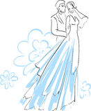Mooie Bruid en Fiance Stock Illustratie