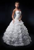 Mooie bruid in het witte huwelijks- kleding stellen   Stock Foto's