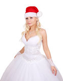 Mooie bruid met de hoed van de Kerstman die op wit wordt geïsoleerdr Royalty-vrije Stock Afbeeldingen