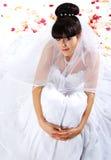 Mooie bruid met roze bloemblaadjes Royalty-vrije Stock Fotografie