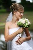 Mooie bruid met sluier Stock Fotografie
