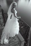 Mooie bruid op brug Royalty-vrije Stock Afbeelding