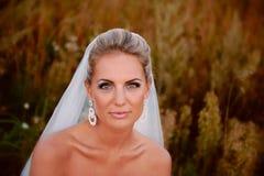 Mooie bruid op een gebied met gras Stock Foto's