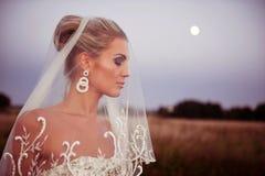 Mooie bruid op een gebied met gras Royalty-vrije Stock Foto's