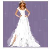 Mooie bruid op een purpere achtergrond vector illustratie