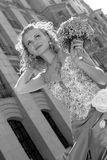 Mooie Bruid op haar huwelijksdag Stock Foto