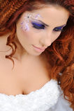 Mooie bruid in studio Stock Foto