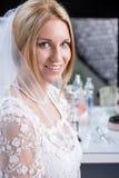 Mooie bruid tijdens een grote dag royalty-vrije stock afbeelding