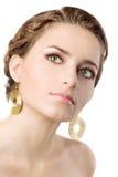 Mooie brunette die op wit wordt geïsoleerd Royalty-vrije Stock Fotografie