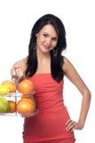 Mooie brunette met citrusvrucht Stock Foto