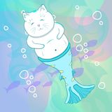 Mooie Cat Mermaid Underwater royalty-vrije illustratie