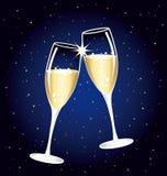 Mooie champagnetoost op een sterrige nacht. Royalty-vrije Stock Afbeelding