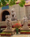 Mooie Chinese de stijlbeeldhouwwerken van ` s in Anek Kusala Sala Viharn Sien, Thais-Chinese tempel in Pattaya, Thailand Het werd Royalty-vrije Stock Afbeelding