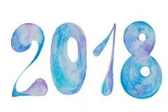 Mooie cijfers van de Nieuwjaar 2018 blauwe geschilderde waterverf op een achtergrond Stock Fotografie