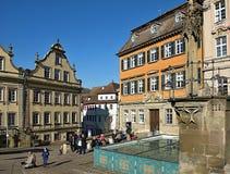 Mooie cityscape van schwaebischzaal in Duitsland stock afbeelding