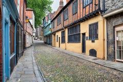 Mooie Cobbled-Steeg in Norwich royalty-vrije stock afbeeldingen