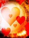 Mooie collage met harten en muzieknota's in kosmische ruimte, die de liefde symbolizining aan muziek Stock Afbeeldingen
