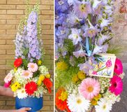 Mooie collage van een de modieuze zomer bloemenboeket Het werk in een bloemwinkel stock foto's