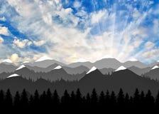Mooie dageraad van berglandschap vector illustratie