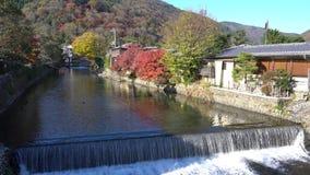 Mooie dalingskleur, rivier dichtbij TogetuKyo-Brug stock video