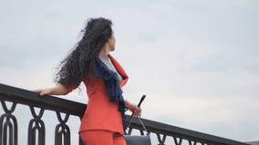 Mooie dame bij de brug stock video