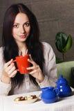 Mooie dame het drinken thee Royalty-vrije Stock Afbeelding