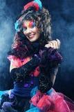 Mooie dame met artistieke samenstelling Doll stijl Stock Foto's