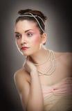 Mooie dame met make-up in studio Stock Foto's