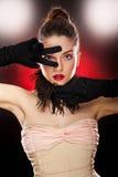 Mooie dame met make-up in studio Royalty-vrije Stock Fotografie