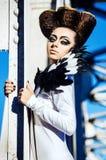 Mooie dame met onwaarschijnlijke hairdress Royalty-vrije Stock Foto's