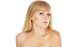 Mooie dame met perfecte huid, studioportret royalty-vrije stock afbeeldingen