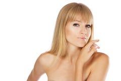 Mooie dame met perfecte huid, studioportret royalty-vrije stock foto