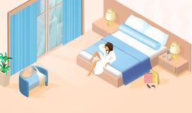 Mooie Dame in Witte Badjas op Tweepersoonsbed vector illustratie