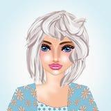 Mooie dame in witte haarillustratie als achtergrond royalty-vrije illustratie