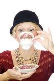 Mooie dameportret het drinken thee Royalty-vrije Stock Foto