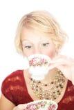 Mooie dameportret het drinken thee Royalty-vrije Stock Foto's