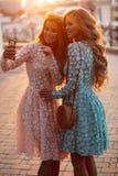 Mooie dames die foto samen maken bij smartphone stock foto's